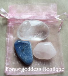 harmony and love- They represent : Rose quartz : Stone of love, tenderness, peace , self- love, Unconditional love , teaching true essence of love.  Blue Quartz: Releases emotional tension, calming one mind, inspires hope and inner peace. Quartz crystal rock: all healing, harmony, psychic awareness, protection, cleanses aura. Once charged and cleanse, Can Be used for Harmony & Love Magick. Come with cleansing and charging instructions.  Price 7.50+ Free Shipping ( USA)