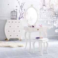 Coiffeuse BAROQUE, maison du monde, romantic design, decoration, white,