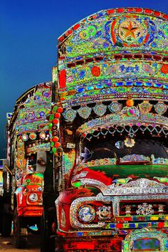 trucks parked near Ibrahim Hydri Beach, Karachi, Pakistan ~ by Kiran Nasir