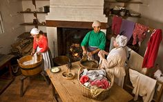 A fire, tubs of hot water, and lines for drying—with a table for ironing—were the eighteenth-century version of a washer and dryer.