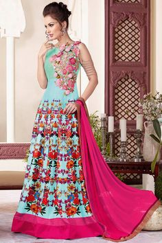 Light Blue Floor Length Silk Fabric Party Wear Printed Gown Style Anarkali  #blue #printed #anarkali #gown #designer #vipul #partywear