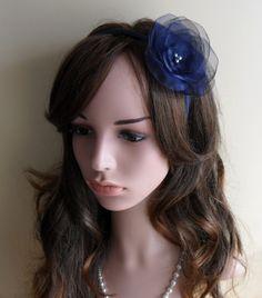 14,-  //  Haarreif dunkelblau  Fascinator Haarblume von Cosara auf DaWanda.com