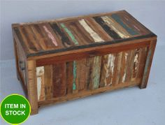 Recycled Reclaimed boat Timber Old wood French blanket box storage chest
