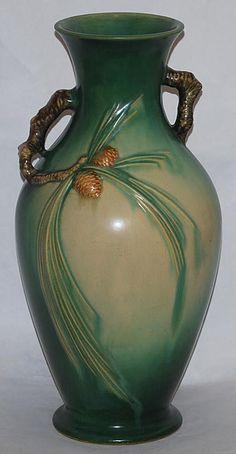 Roseville Green Pine Cone Vase 807-15