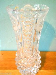 Beautiful Heavy Vintage 24% Lead Crystal Vase Etched Roses Bouquet Germany on eBid United States