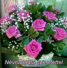 """Képtalálat a következőre: """"liza világa"""" Name Day, Flower Arrangements, Beautiful Flowers, Floral Wreath, Bouquet, Happy Birthday, Wreaths, Plants, Blog"""