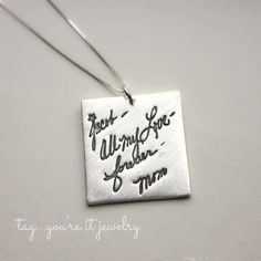 Actual handwriting necklace in sterling silver Memorial replica