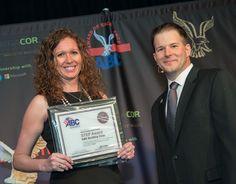 KBE Building Corp. wins ABC's STEP Award! Kristen Schrader is seen here with ABC Chair Matt Bolyard.
