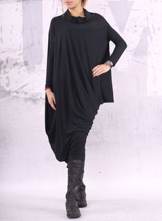 Black dress/ extravagant dress/ asymmetric tunic by urbanmood