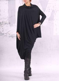 Black extravagant asymmetrical tunic dress / plus by urbanmood, $85.00