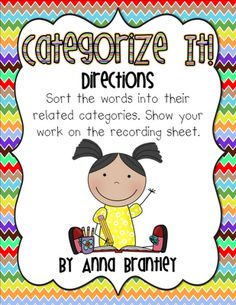 Categorizing Words Literacy Center FREEBIE!!!!!