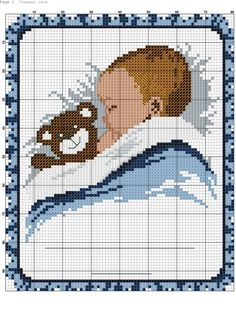 Baby napping with bear x-stitch Cross Stitch Baby, Counted Cross Stitch Patterns, Cross Stitch Charts, Cross Stitch Designs, Cross Stitch Embroidery, Embroidery Patterns, Hand Embroidery, Crochet Cross, Plastic Canvas Patterns