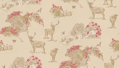 Meadowsweet (96981) - Albany Wallpapers - A country scene toile depicting deer alongside rivers, bridges, trees and flowers with birds and butterflies. Shown in warm cream with accents of raspberry pink, and green. Alternative colourway available. Please order a sample for true colour.