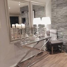 """✨✨"" Home Interior Design, Interior Decorating, Home Office Shelves, Dressing Room Decor, Side Table Decor, Entrance Table, Foyer Design, Lounge Decor, Modern House Design"