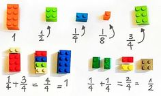 Lego is not for playtime only anymore. Here is a cool Lego idea - you can use LEGO To Explain Math To Children Easily . It includes fractions, squares . Student Learning, Teaching Math, Kids Learning, Math Education, Visual Learning, Teaching Music, Used Legos, Lego Blocks, Math Fractions