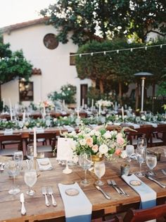 A lush, outdoor wedding in La Jolla, California with a pastel palette of dusty blue, blush and lavender juxtaposed against the sea. Wedding Reception Design, Romantic Wedding Receptions, Reception Table, Wedding Themes, Wedding Ideas, Reception Ideas, Wedding Pictures, Wedding Designs, Wedding Stuff