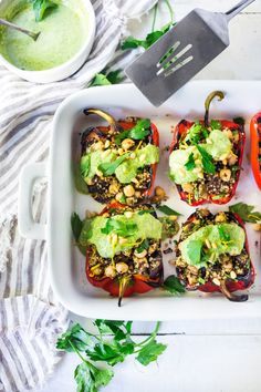Middle Eastern Grilled Stuffed Peppers with Quinoa, Eggplant, Chickpeas and Zhoug Yogurt (Gluten-free & Vegan Adaptable) Grilled Stuffed Peppers, Vegetarian Stuffed Peppers, Vegan Vegetarian, Vegetarian Recipes, Healthy Recipes, Free Recipes, Healthy Meals, Delicious Recipes, Healthy Food