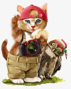 Watercolor cat, Painted Cat, Cartoon Cat, Baseball Caps PNG Image
