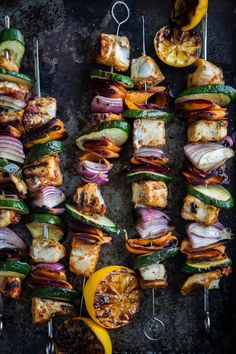 """Moroccan Fish Skewers with Barramundi (fish) - Outdoor Kitchen with Kalamazoo Outdoor Gourmet Appliances - """"Dressed To Grill"""" . Sophisticated Skewers (Part Kebab Recipes, Grilling Recipes, Fish Recipes, Vegetable Recipes, Seafood Recipes, Dinner Recipes, Cooking Recipes, Healthy Recipes, Vegetarian Grilling"""