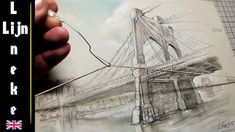 How to draw perspective for beginners with rubber band Brooklyn Bridge