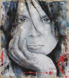 "Marco Rubiero  ""Giovinezza I"" 2008  tecnica mista su tavola sabbiata cm. 45 x 40"