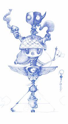 Robot Sketches by oscar llorens, via Behance