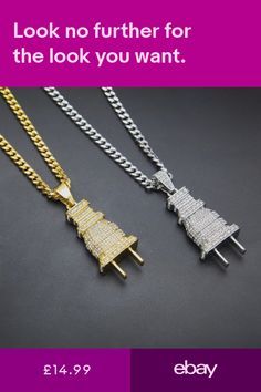 Fully Iced Out Diamond Bling Power Plug Pendant Hip Hop Cuban Necklace Chain Silver Chain Necklace, Silver Necklaces, Arrow Necklace, Jewelry Necklaces, Pendant Jewelry, Pendant Necklace, Silver Diamonds, Chains, Jewelery