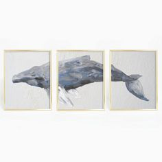 Bring nautical and beach vibes to your home with this humpback whale triptych print. This hand painted whale is the perfect addition to any home, nursery or office.