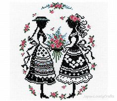 Japanese Cross Stitch Kit Beginner, Embroidery DIY Kit, Easy Stitch Tutorial, Anne of Green Gables, Anne & Diana, Hand Embroider, JapanLovelyCrafts