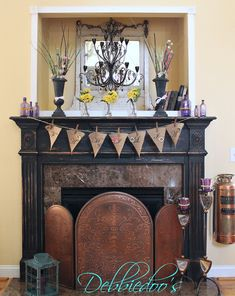 #Fireplace surround #makeover with Maison Blanche Vintage Furniture Paint in Wrought Iron (black)