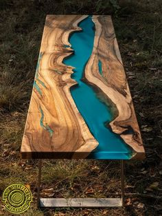 Bench live edge resin river with turquoise glowing pigment - Holzarbeiten - Epoxy Ideas Epoxy Wood Table, Epoxy Resin Table, Wooden Tables, Epoxy Resin Countertop, Countertops, Live Edge Furniture, Resin Furniture, Custom Furniture, Live Edge Wood