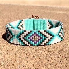 Best Bracelet Perles 2017/ 2018 : Tribal Diamonds Bead Loom Bracelet Bohemian Boho Artisanal Jewelry Indian Western Beaded Southwestern Turquoise Brown Santa Fe