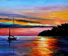 "Seascape Fine Art Sea Painting On Canvas By Leonid Afremov - Wind Of Hope. Size: 36"" x 30"" inches (90 cm x 75 cm)"