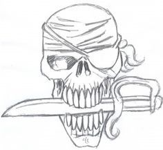 Drawing Halloween | How to draw a pirate skull for Halloween. Setp three - Adding more ...