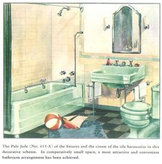 The color green in kitchen and bathroom sinks, tubs and toilets - from 1928 to 1962 - Retro Renovation