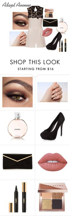 """Outfit for a night out put together by Adapt Avenue"" by adaptavenue ❤ liked on Polyvore featuring Chanel, New Look, Lime Crime, Yves Saint Laurent, Bobbi Brown Cosmetics, YSL, lace, playsuits, clothingbyaa and adaptavenuestyles"