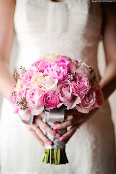Pretty Pink wedding flower bouquet, bridal bouquet, wedding flowers, add pic source on comment and we will update it. www.myfloweraffair.com can create this beautiful wedding flower look.