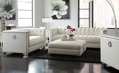 Mid-Century Modern White Faux Leather Sofa Loveseat Living Room Couch Set for sale online Loveseat Living Room, Furniture, Living Room Sofa, Leather Sofa Living Room, White Living Room Decor, White Leather Couch, Leather Couches Living Room, Couches Living Room, White Furniture Living Room