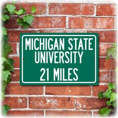 Personalized Michigan State University Highway Distance Sign  19 95