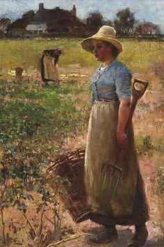 Potato Gatherers, 1883 by Flora Macdonald Reid (Scottish 1861-1938) love that bonnet!