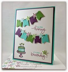 Coastal cabana Card Base with Perfect Plum and WW.  Stars from Something to Say stamp set.