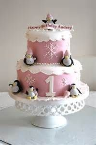 Snowflakes and Penquins first birthday cake