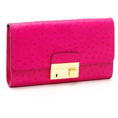 Women's Michael Kors Gia Ostrich-Embossed Leather Clutch, Neon Pink