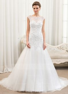 362ff4ed5e84 Trumpet/Mermaid Scoop Neck Court Train Tulle Lace Wedding Dress With  Beading Sequins - JJsHouse