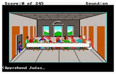 Mash-up of Police Quest: In Pursuit of the Death Angel (1987) and Leonardo da Vinci's The Last Supper. More 8 bit art and vintage game mash-ups at source.