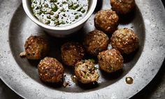 Spicy pork meatballs with dipping sauce