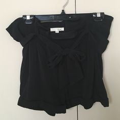 "Lush Hi Waist Black Shorts Worn once! These are the perfect alternative to a little black skirt. Super cute tie waist, two pockets and a side zip opening (shown in photo). 3"" inseam, adorable cuffed bottoms. Make an offer! Lush Shorts"