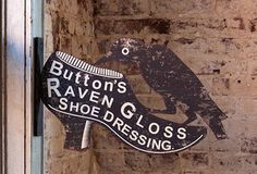Button's Raven Gloss Shoe Dressing sign Antique Farmhouse, Royalty Free Antique Graphic via Knick of Time