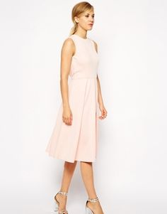 ASOS Pleated Skater Midi Dress with Cut Out Back - Blush