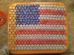 Beer bottle cap table top.